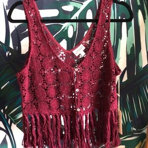 NWT Shyanne Cropped Crochet Vest with Fringe!
